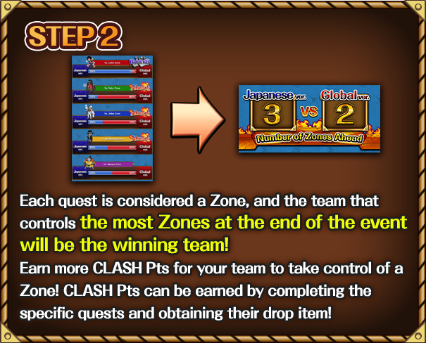 Each quest is considered a Zone, and the team that controls the most Zones at the end of the event will be the winning team! Earn more CLASH Pts for your team to take control of a Zone! CLASH Pts can be earned by completing the specific quests and obtaining their drop item!